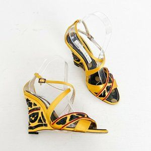 Christian Lacroix Beaded Satin Wedges Yellow Sz 38